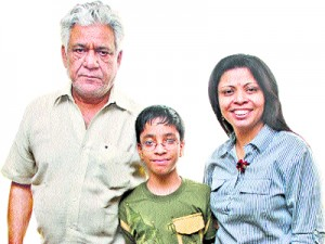 Om Puri with his wife Nandita Prui & Son